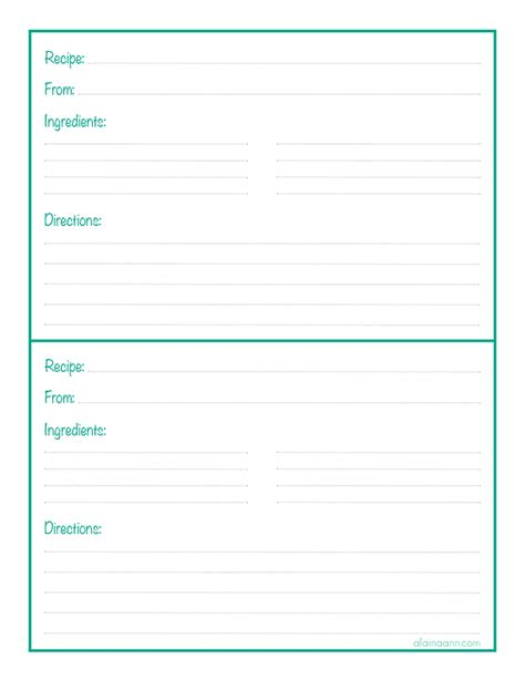 Page Recipe Portrait Card Template by Recipe Binder Sheet Organized Home Free