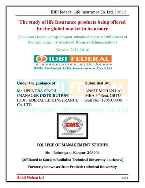 Mba Project Report On Idbi Federal by The Study Of Insurance Products Being Offered By The