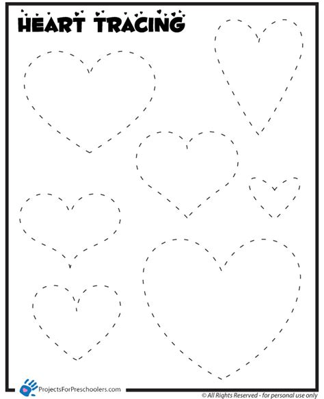 heart pattern for preschool 6 best images of heart traceable printable heart tracing
