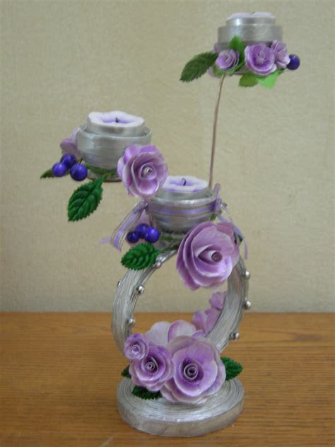 How To Make Showpiece With Paper - best out of waste paper decorative candle stand doovi