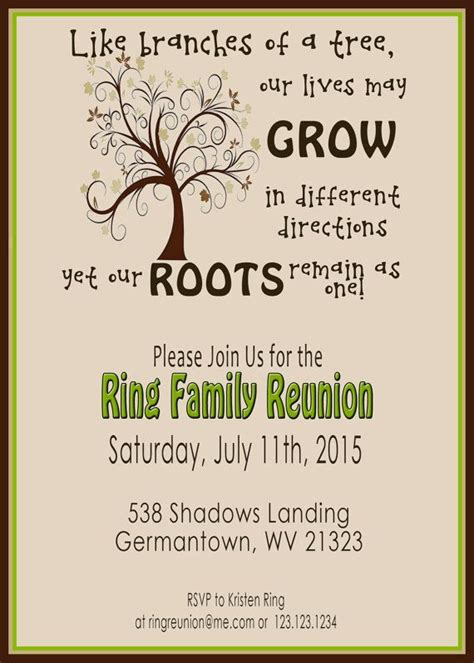 Printable Family Reunion Invitation Cards | family reunion invite swirly tree printable digital