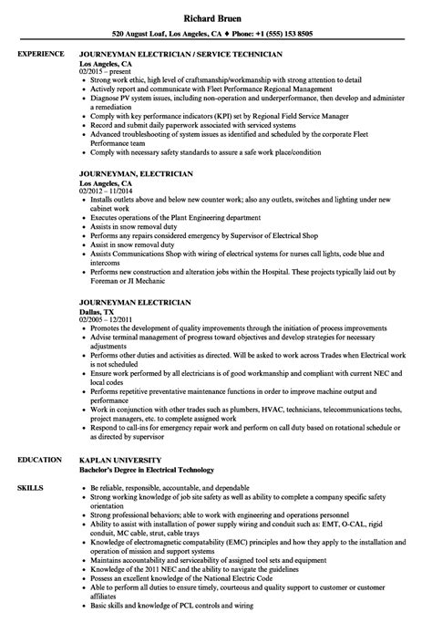 journeyman electrician resume sles velvet