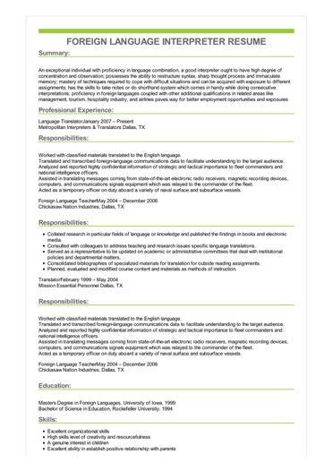 Sample Foreign Language Interpreter Resume