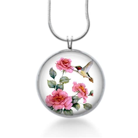 hummingbird with pink roses necklace bird gifts for women