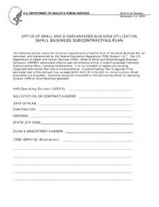 Small Business Subcontracting Plan Template hhs small business subcontracting plan template fill
