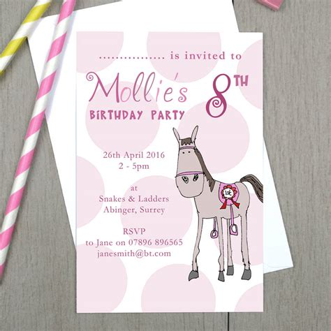 Personalised Invitations by Personalised Pony Children S Invitations By Molly