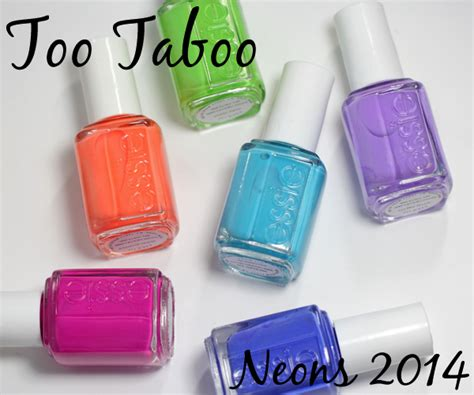 2014 essie neon swatches essie neons 2014 too taboo collection swatches review