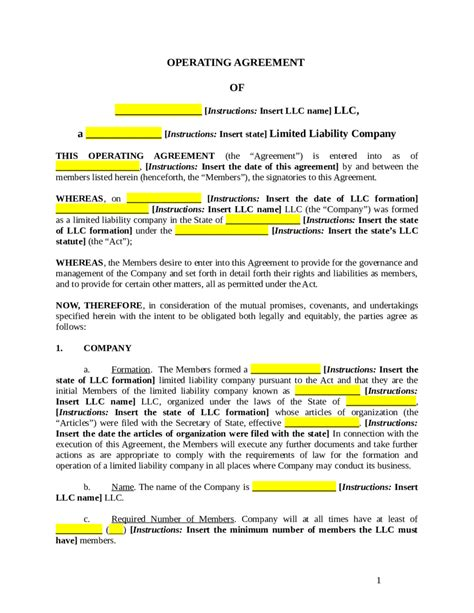 operating agreement template llc llc operating agreement amendment template 28 images