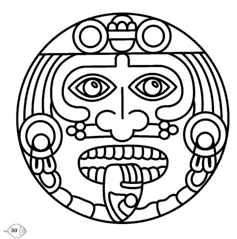 Free Printable Aztec Symbol Collection Mayan Coloring Pages