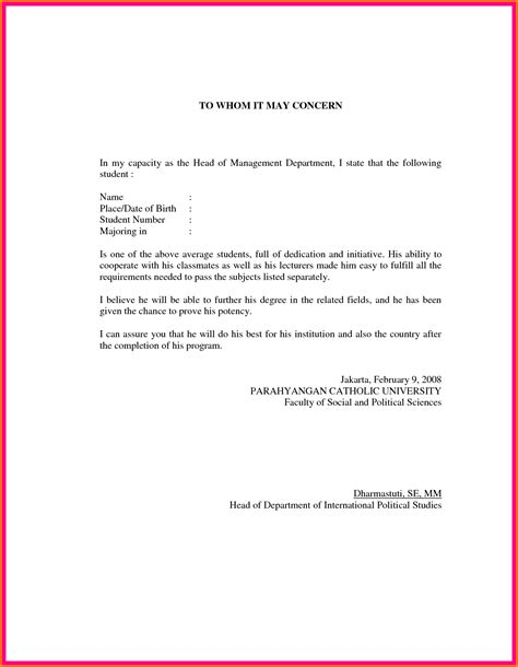 Recommendation Letter For Student Employment letter of recommendation format sle template