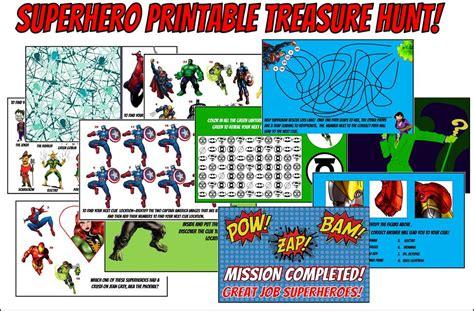 superhero themed games printable superhero treasure hunt game