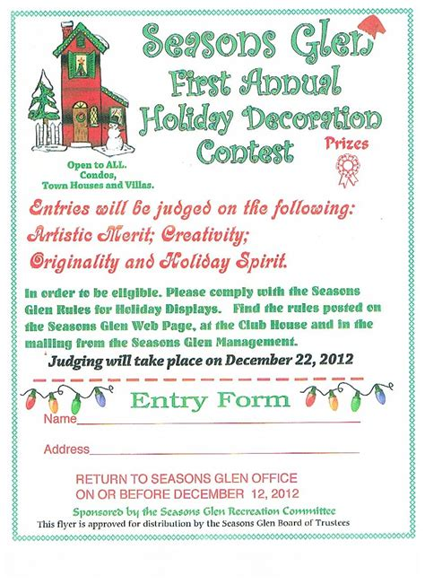 office holiday decorating contest flyer seasons glen at mount arlington announcements seasons glen decorating contest