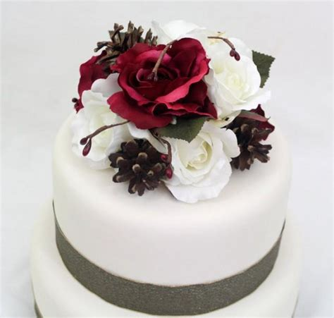 Silk Flower Wedding Cake by Winter Wedding Cake Topper Cranberry Burgundy White
