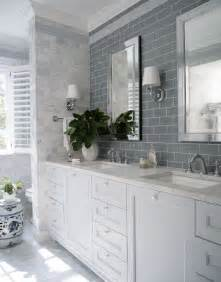 White Subway Tile Bathroom Ideas Blue Grey Subway Tile Over Double Sink With Marble