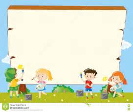 templates for children border template with painting stock vector image