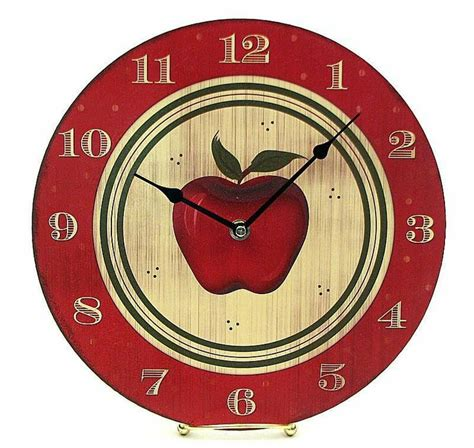 themes clock red round wooden red apple wall hanging theme clock kitchen