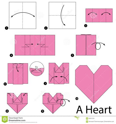 How To Make Paper Hearts Step By Step - origami step by step comot