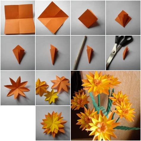 Handmade Paper Flowers Tutorial - how to make paper marigold flower step by step diy