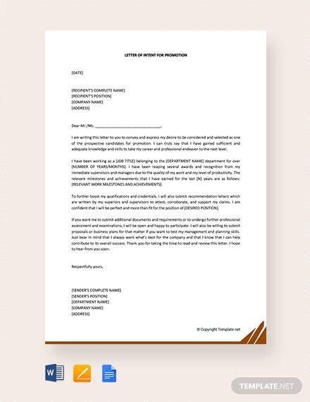 letter intent promotion template word