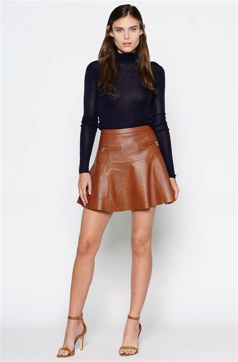 joie briza b leather skirt in brown lyst