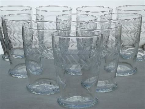 vintage etched laurel drinking glasses laurel band