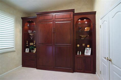 stained wood wall bed side cabinets traditional bedroom san francisco  valet custom