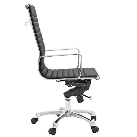 modway ribbed high back chair in black vinyl