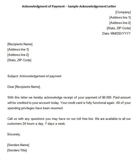 Acknowledgement Letter For Giving Payment 31 Acknowledgement Letter Templates Free Sles Exles Format Free Premium