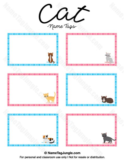 name cards template for classroom printable cat name tags