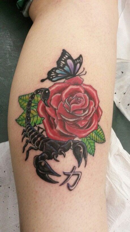 scorpion tattoo with rose scorpion butterfly