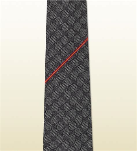 gucci gg pattern silk tie in gray for lyst