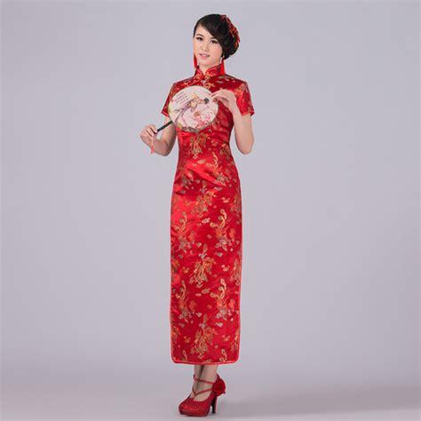 Baju Dress Lq 10 Cheongsam Maron traditional dress satin qipao phenix cheongsam plus size s m l xl