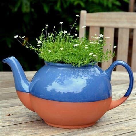 Large Teapot Planter by Teapot Planter Large Blue Weston Mill Pottery Uk
