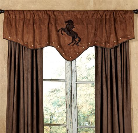 western window curtains chestnut suede horse valance