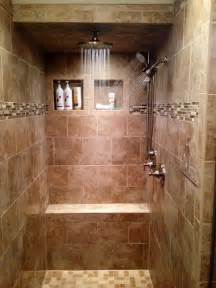 walk in tile shower three shower heads rain shower