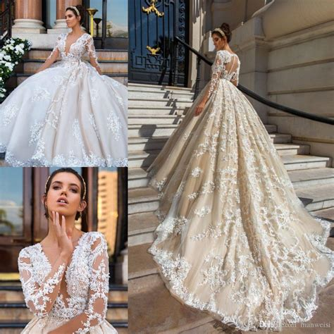 Luxury Wedding Dresses by Luxury Sleeve Wedding Dresses Plunging Neckline Lace
