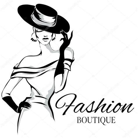 fashion illustration logos logo de boutique de moda con vector de silueta de mujer