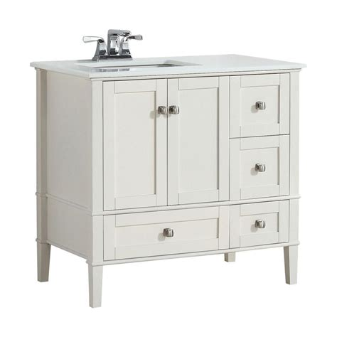 36 white bathroom vanity with top simpli home chelsea 36 in w vanity in soft white with