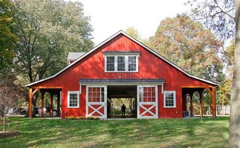 red barn plans timber frame porches and accents on a large horse barn in millersville md barns and arenas