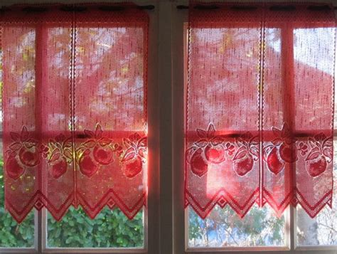 red valance curtains red french lace valance cafe curtains brise bise fruits