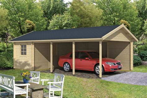 Garage Carport Plans Log Cabin Carport Ever 7 7 X 4 3m