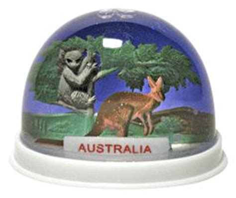 australia snowglobe snow dome with kangaroo and koala