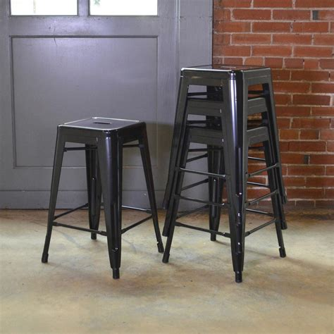Stackable Metal Bar Stools by Amerihome Loft Style 24 In Stackable Metal Bar Stool In