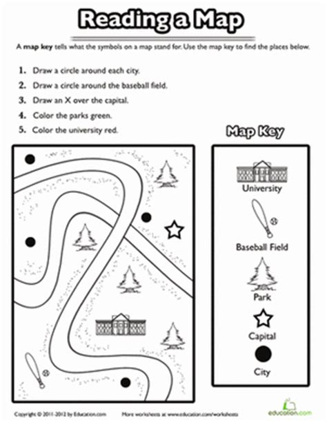 printable map reading worksheets using a map key worksheet education com