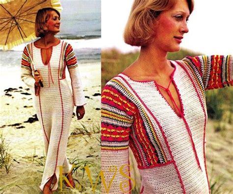 caftan pattern download vintage 70 s crochet quot caftan quot dress pdf pattern instant