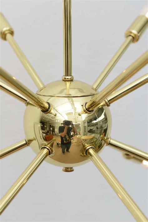 Lu Kabut Fuso Clear Bohlam polished brass sputnik chandelier at 1stdibs