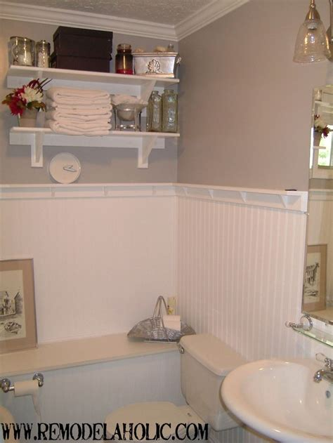 beadboard bathroom ideas beadboard wainscoting with ledge remodelaholic do it