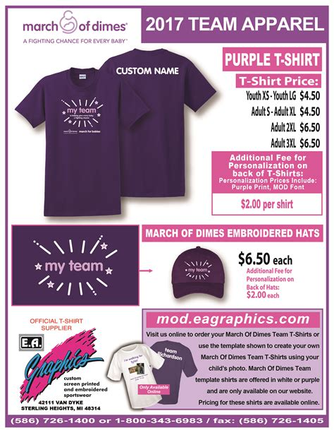March For Babies Teams T Shirt Ad Template