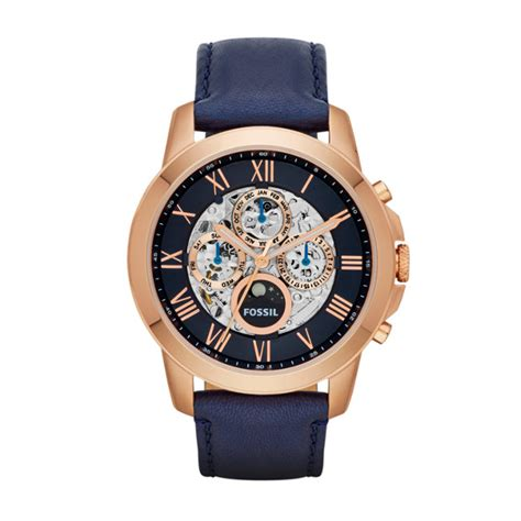 Fossil Grant Navy by Grant Automatic Navy Leather Fossil