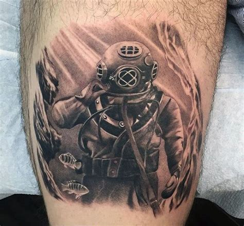 diving helmet tattoo 60 diver designs for underwater ink ideas